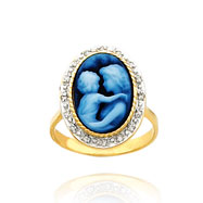 14K Yellow Gold Wide Diamond Frame Everlasting Love Agate Cameo Ring