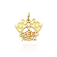 "14K Yellow Gold ""Speed Freak"" Racing Flags Charm"