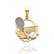14K Yellow Gold & Rhodium Tennis Theme Pendant