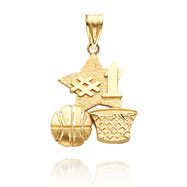 14K Yellow Gold Polished #1 Basketball Charm