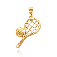 14K Yellow Gold Diamond Cut Tennis Charm