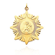 14K Yellow Gold Star with Mary and Child Disc Pendant