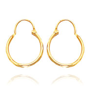 14K Yellow Gold Diamond Cut 1.50x15mm Hoops