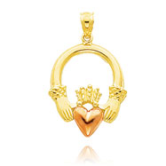 14K Two-Tone Green Gold Claddagh Charm