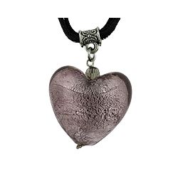 Lilac Murano Glass Heart Pendant on Black Suede Cord