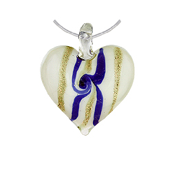 White Murano Glass Heart Pendant with Gold and Blue Lines on Sterling Silver 1.5mm Omega Chain