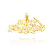 14K Yellow Gold Polished I Heart My Firefighter Pendant
