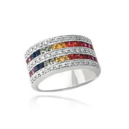 14K White Gold Rainbow Sapphire & Diamond Row Ring
