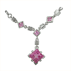 Sterling Silver Pink Cubic Zirconia Squares Necklace on 2mm Box Chain