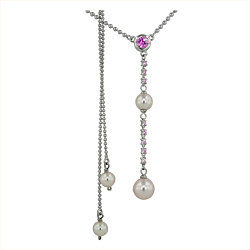 Sterling Silver Necklace with Pink Swarovski Pearls and Pink Round and Square Cubic Zirconia on 1.5m