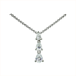 Sterling Silver Three Teardrops Necklace with White Cubic Zirconia on 1.5mm Rollo Chain