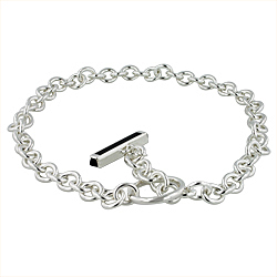 Designer Inspired Sterling Silver Cable Chain Necklace with Black Onyx