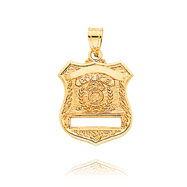14K Yellow Gold Large Police Badge Pendant