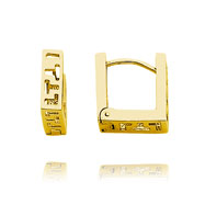 14K Rose Gold Greek Design Square Hinged Hoops