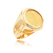 14K Yellow Gold 1/10oz Notched Shank Bezel-Mounted American Eagle Coin Ring