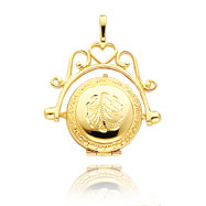 14K Yellow Gold Domed Swivel Locket