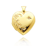 14K Yellow Gold Domed Heart-Shaped Floral Design & Diamond Family Locket