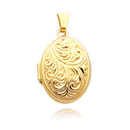14K Yellow Gold Domed Oval Locket