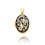 14K Yellow Gold Large Oval-Shaped Fancy Blue Enameled Locket