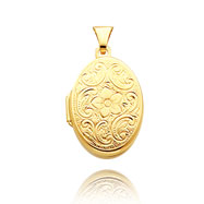 14K Yellow Gold Oval-Shaped Floral Scroll Family Locket