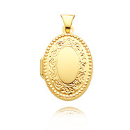 14K Yellow Gold Oval-Shaped Beaded Family Locket