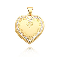 14K Yellow Gold & Rhodium Heart-Shaped Family Locket