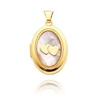 14K Yellow Gold Oval-Shaped Double Heart Mother of Pearl Locket