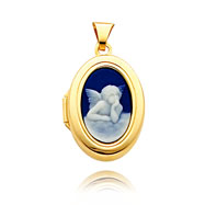 14K Yellow Gold Oval-Shaped Blue Angel Cameo Locket