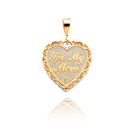 "14K Yellow Gold Reversible ""For My Mom"" Heart Pendant"