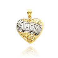 "14K Yellow Gold & Rhodium Heart-Shaped ""#1 Mom"" Scroll Pendant"