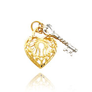 14K Two-Tone Filigree Heart & Key Charm