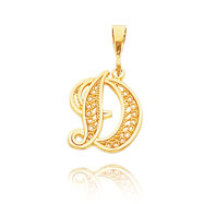 "14K Yellow Gold Filigree Initial ""D"" Pendant"