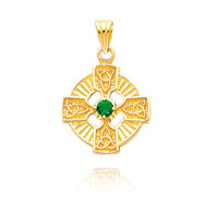 14K Yellow Gold Celtic Circle with Green CZ Pendant