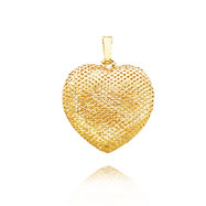 14K Yellow Gold Large Mesh Puffed Heart Pendant