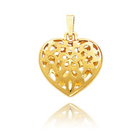 14K Yellow Gold Small Cut-Out Floral Puffed Heart Pendant