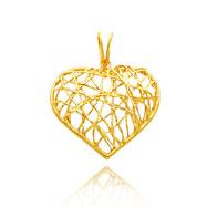 14K Yellow Gold Medium Lattice Heart Pendant