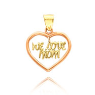 "14K Two-Tone ""We Love Mom"" Heart Pendant"