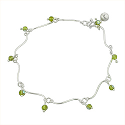 Sterling Silver Wave Anklet with Green Crystal Charms