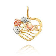 "14K Tri-Color Large ""Mom"" Heart Charm"