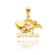 "14K Yellow Gold ""Grandma"" with Angel Pendant"