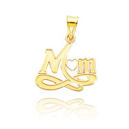 "14K Yellow Gold Large ""Mom"" Pendant"
