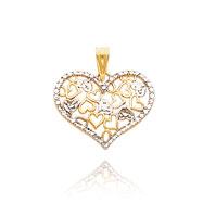 14K Yellow Gold & Rhodium Fancy Open & Diamond-Cut Multi-Heart Pendant