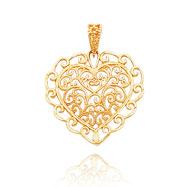 14K Yellow Gold Diamond-Cut Filigree Heart Pendant