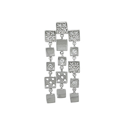 Sterling Silver Dangling Squares Pendant with White CZ