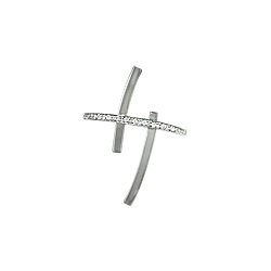 Sterling Silver Crossing Bars Pendant with White CZ