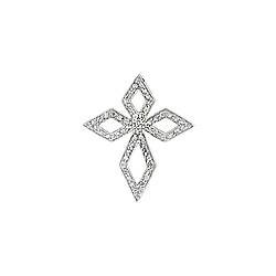Sterling Silver Diamond-Shaped Pave CZ Cross Pendant