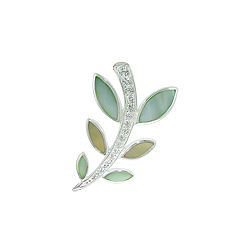 Sterling Silver Branch with Leaves Pendant with Green and Yellow Mother of Pearl and White CZ