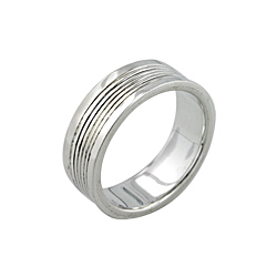 Sterling Silver Lines Ring