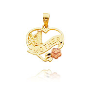 "14K Two-Tone ""#1 Mother"" Heart Pendant"
