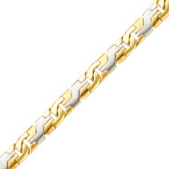 14K Two-Tone 8.35mm Fancy Geometric Link Link Bracelet